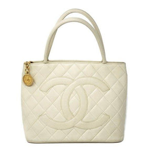 CHANEL Caviar Medallion Gold Cream Tote Bag - Luxury Cheaper