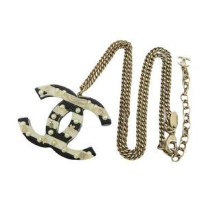 CHANEL CC LOGO STRIPED PENDANT NECKLACE - Luxury Cheaper