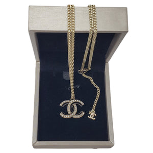 Chanel CC Necklace with Pearl Silver Color.