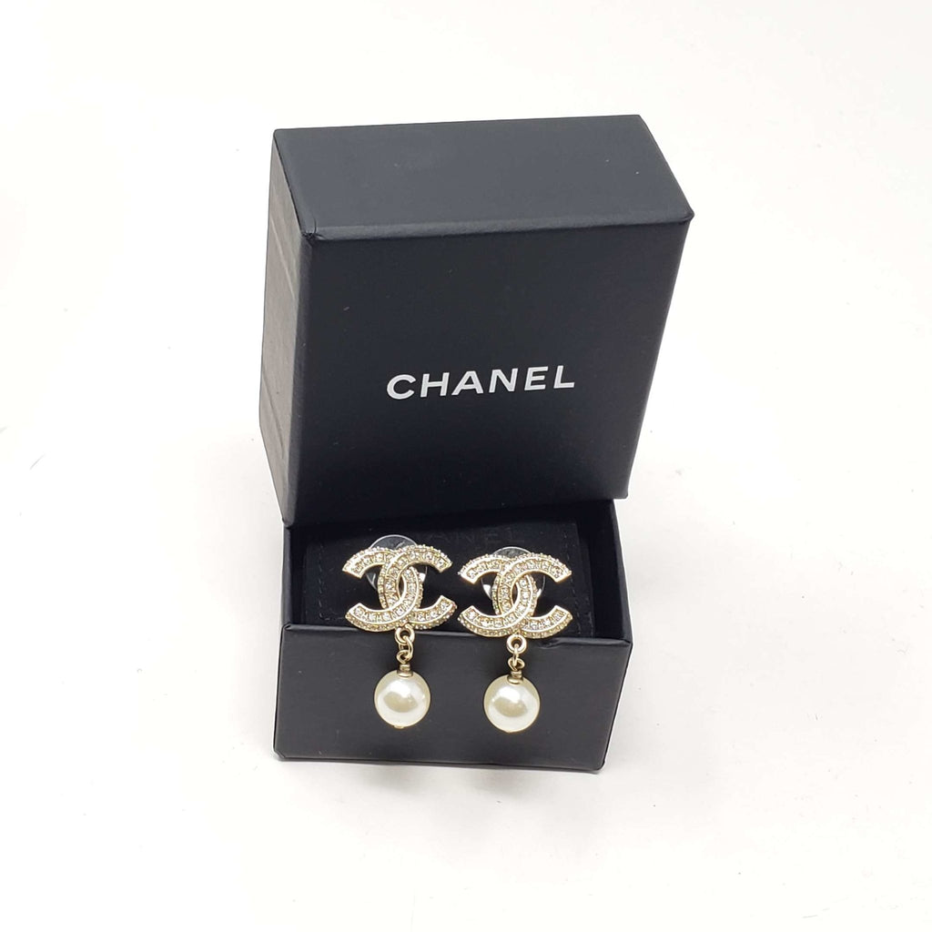 Chanel CC Pearl Earrings.