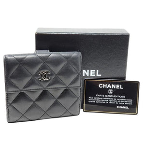 Chanel Compact Wallet Black Lambskin Wallet - Luxury Cheaper