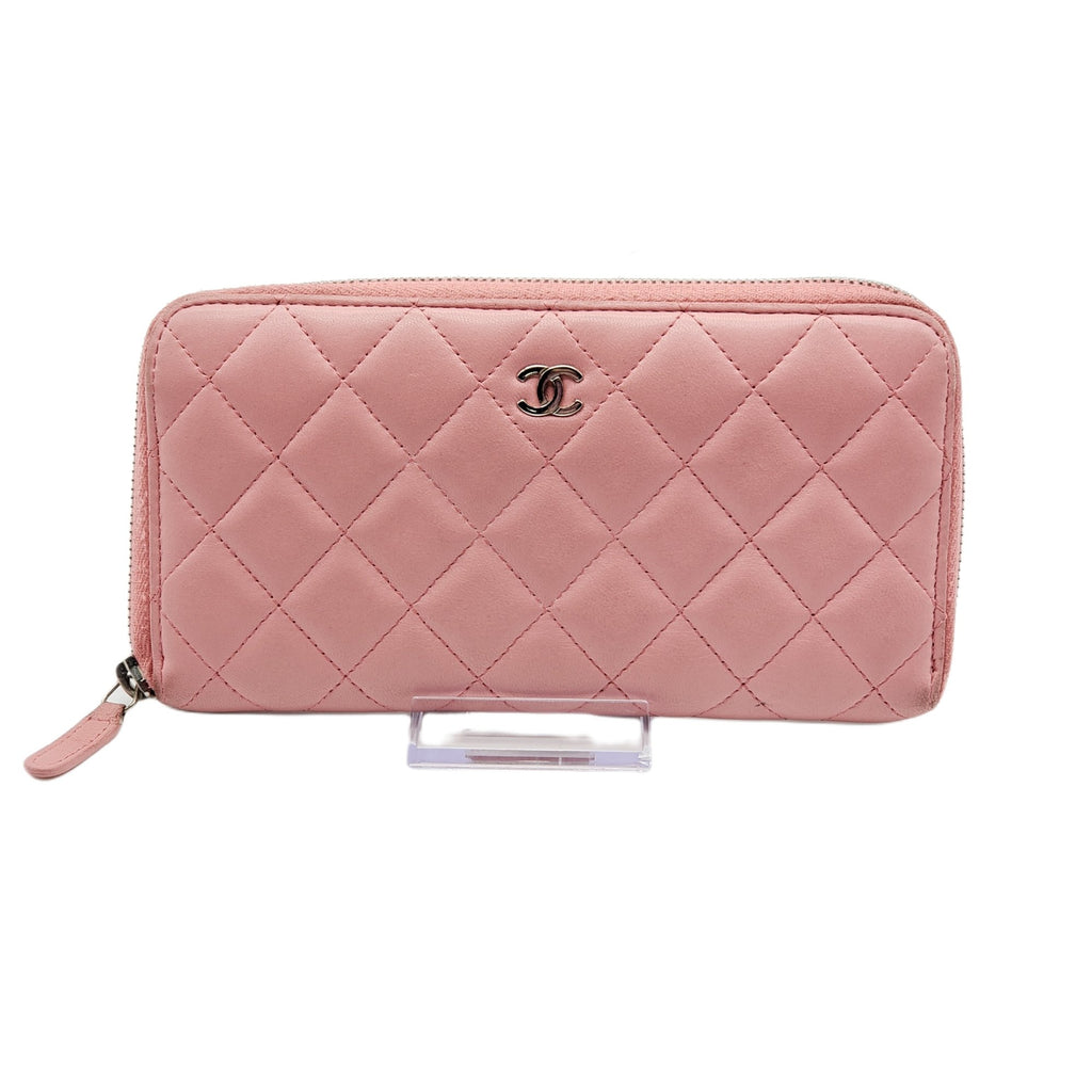 Chanel Matelasse Rose Pink Lamb Skin Zippy Wallet - Luxury Cheaper