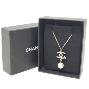 Chanel Silver Metal Stone & Pearl Necklace.