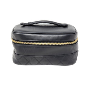 Chanel Vanity Black Leather Cosmetic Bag - Luxury Cheaper
