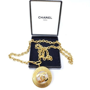 CHANEL VINTAGE CC LOGO LONG CHAIN NECKLACE.