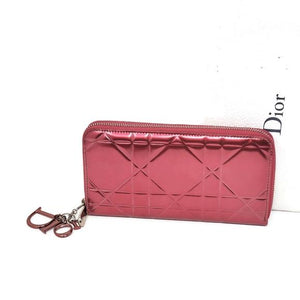 Christian Dior Red Patent Leather Zippy Wallet.