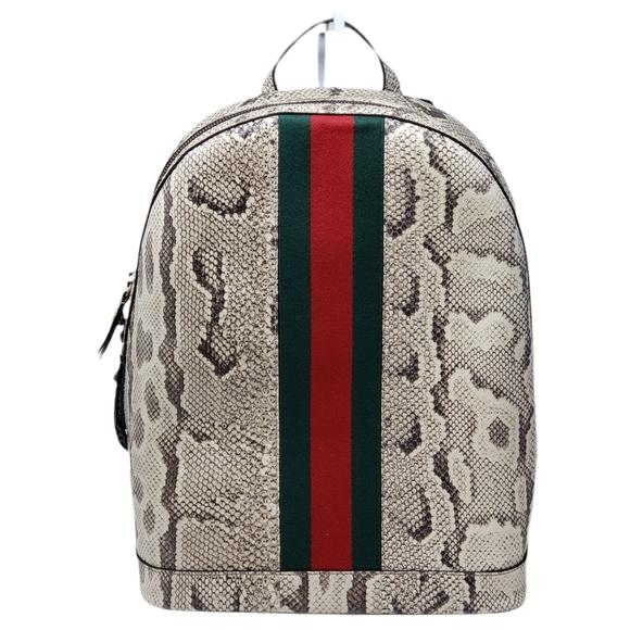 Gucci Animalier Web Python Leather Backpack New - Luxury Cheaper