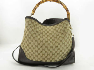 GUCCI BAMBOO GG CANVAS LEATHER 2WAY HAND BAG - Luxury Cheaper