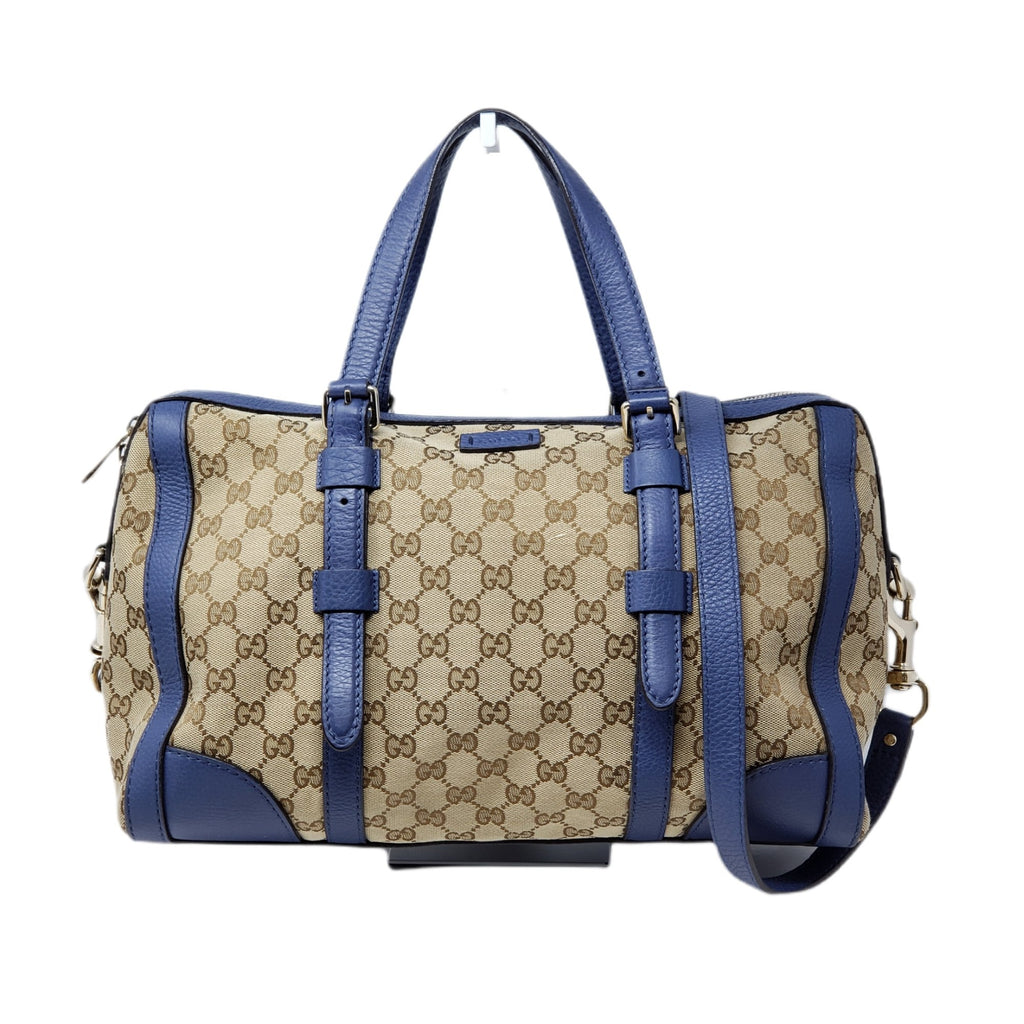 Gucci Boston Canvas Leather Satchel Bag.