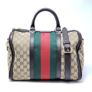 Gucci Canvas Vintage Boston Brown Satchel Bag - Luxury Cheaper