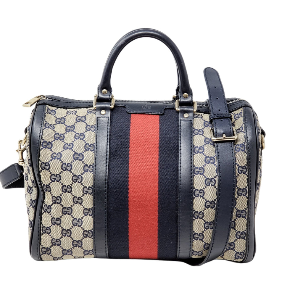Gucci Canvas Vintage Boston Medium Satchel Bag.