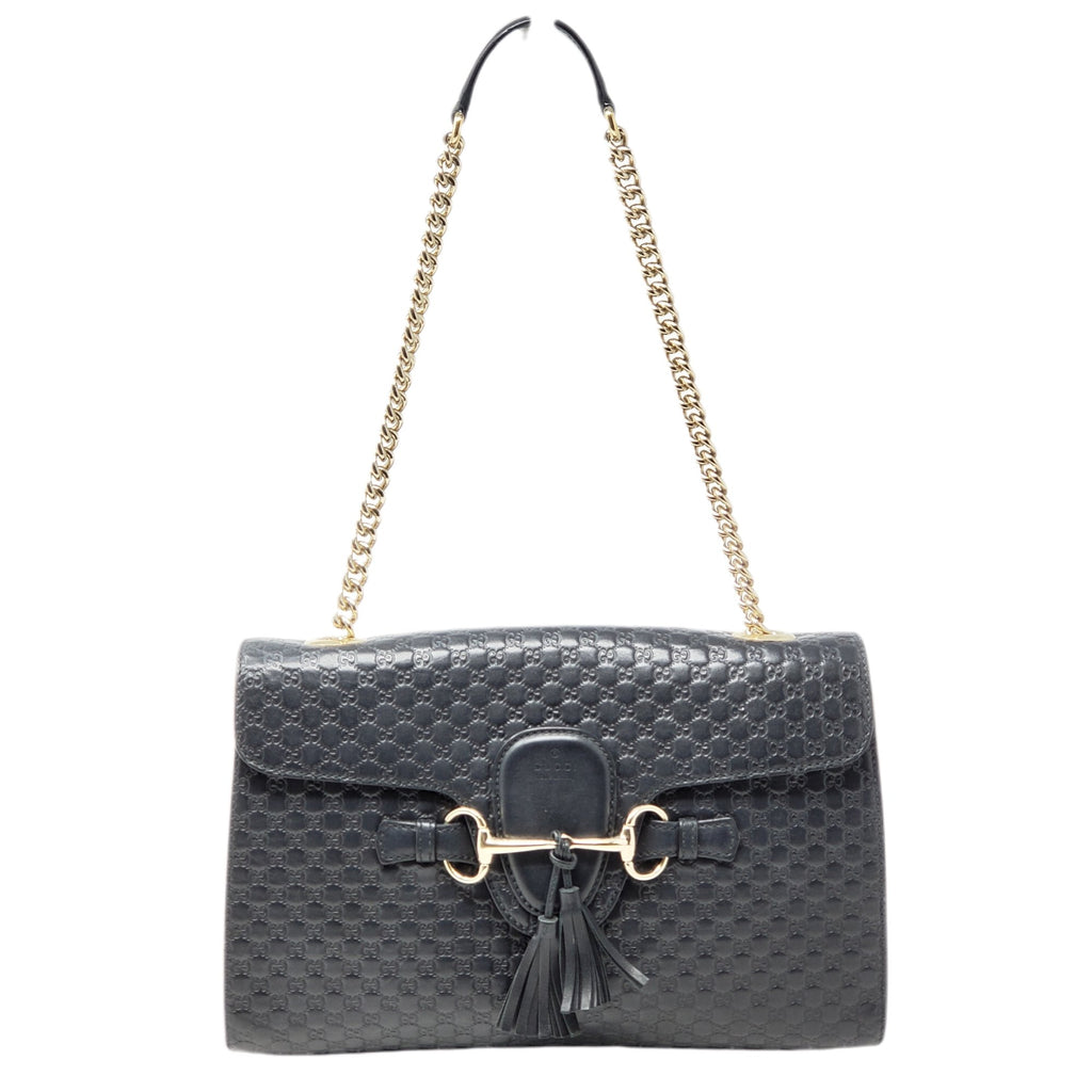 Gucci Emily Guccissima Black Crossbody Bag - Luxury Cheaper