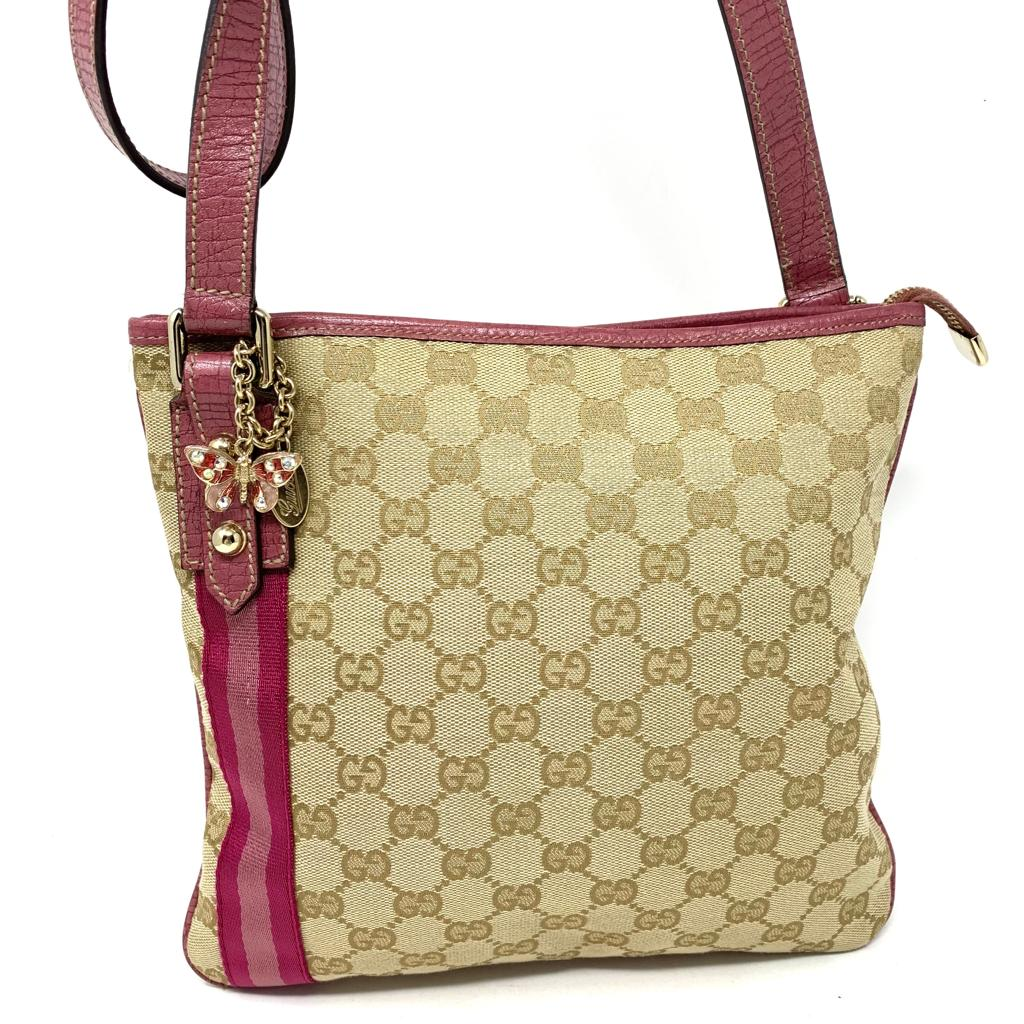 GUCCI GG CANVAS LEATHER CROSSBODY BAG - Luxury Cheaper