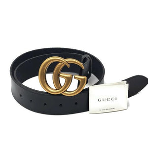 Gucci GG Gold Buckle Black Leather Wide Belt New - Luxury Cheaper