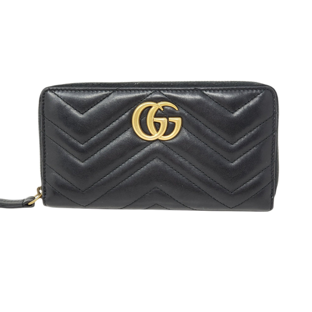 Gucci GG Marmont Black Zippy Leather Wallet.