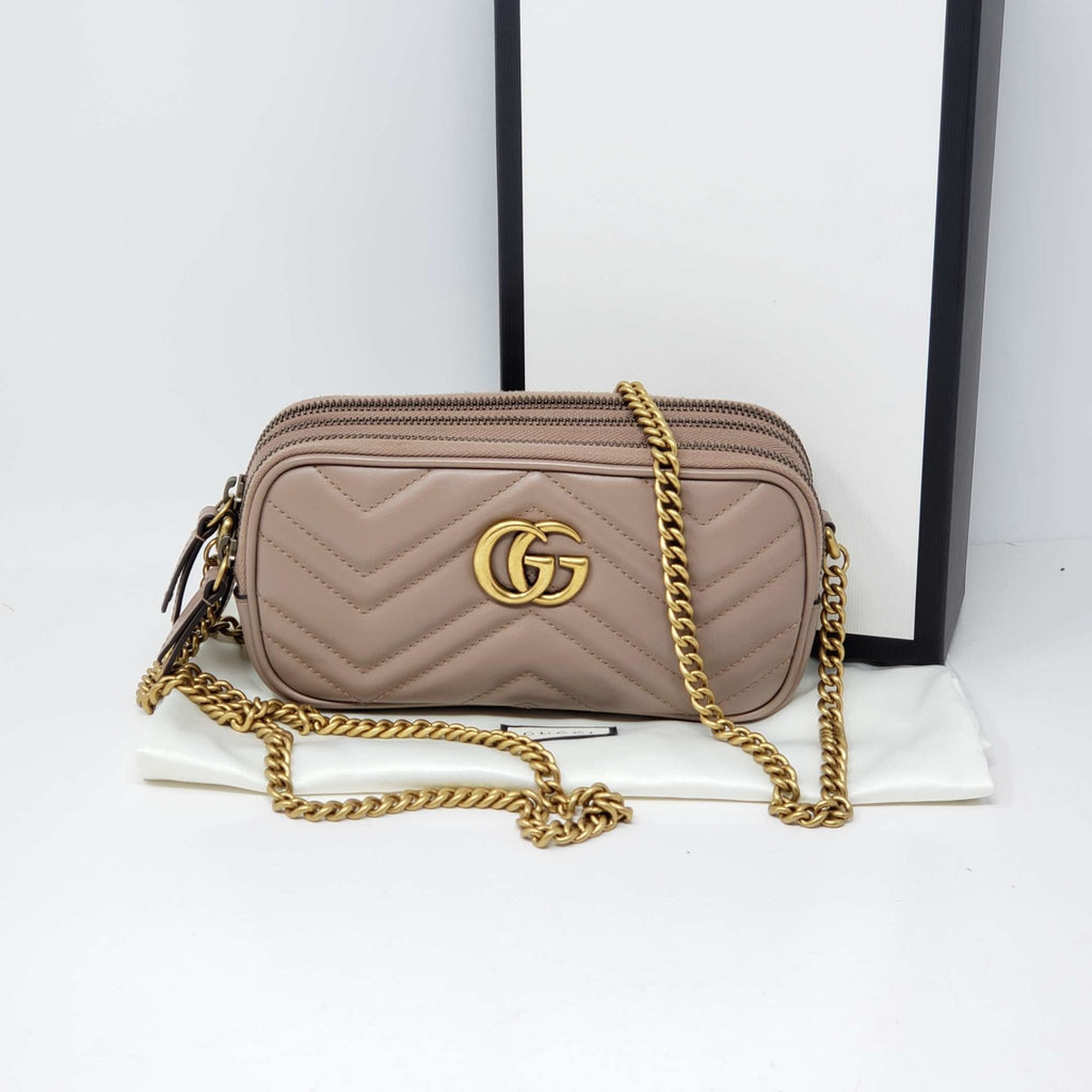 Gucci GG Marmont Mini Quilted Crossbody Bag New.