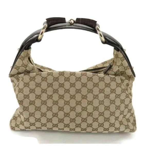 GUCCI HORSEBIT GG CANVAS LEATHER SHOULDER BAG - Luxury Cheaper