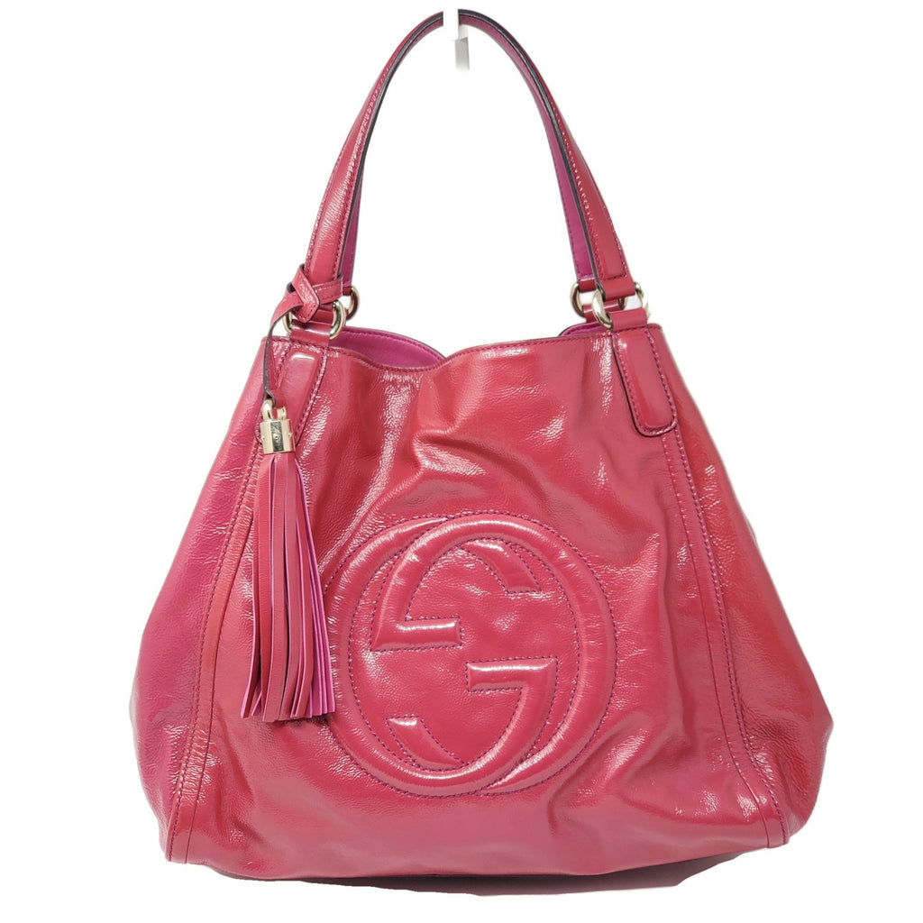 Gucci Large Patent Leather Shoulder Bag.