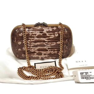 Gucci Lizard Skin Clutch Shoulder Bag.