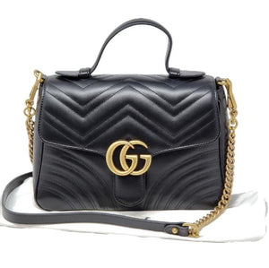 Gucci Marmont Small Top Handle Black Shoulder Bag.