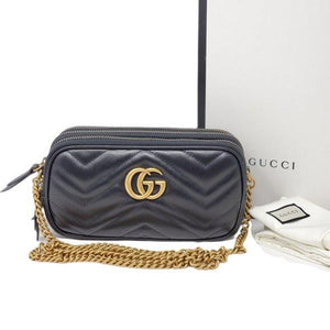 Gucci Mini Quilted Black Marmont Crossbody Bag.
