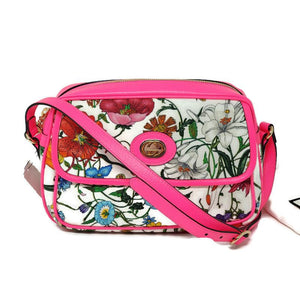 Gucci Small Flora Canvas Pink Shoulder Bag New.