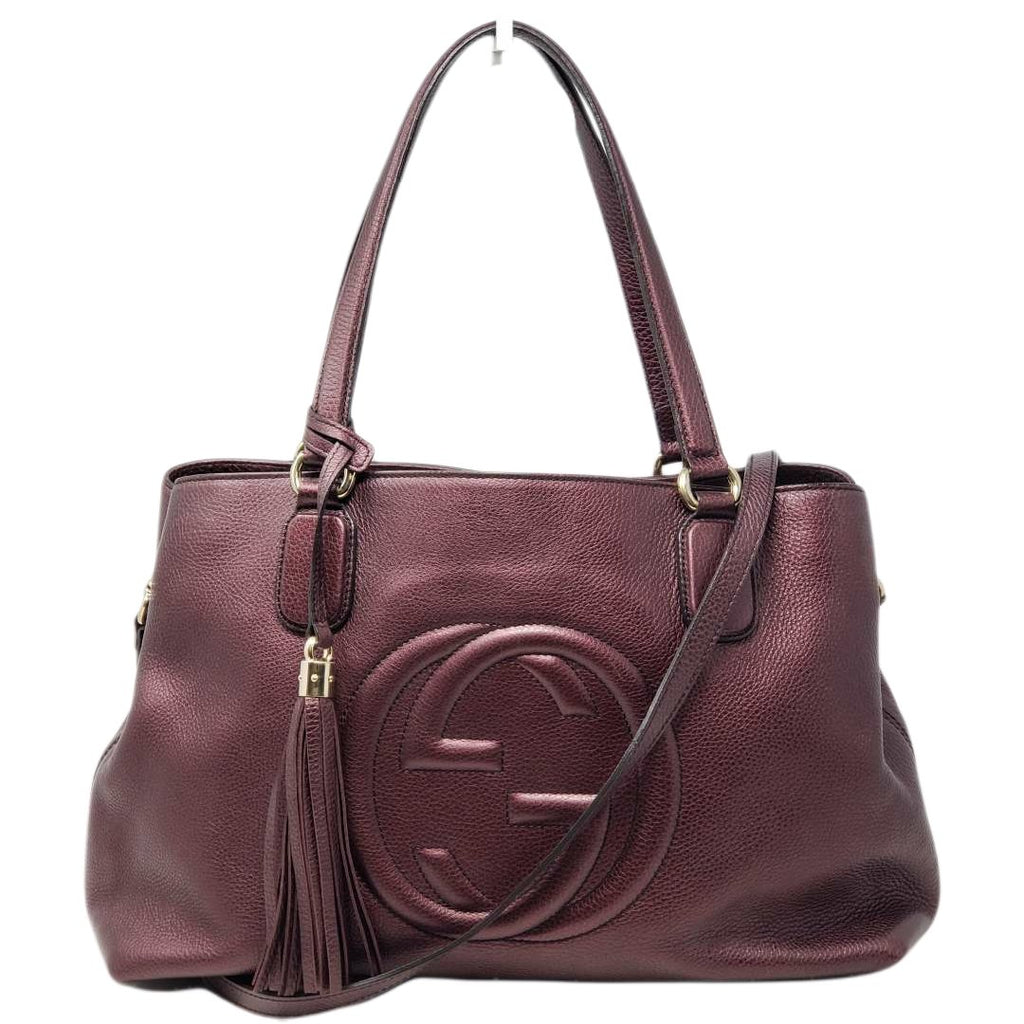 Gucci Soho Large Leather Tote Shoulder/ Crossbody Bag.