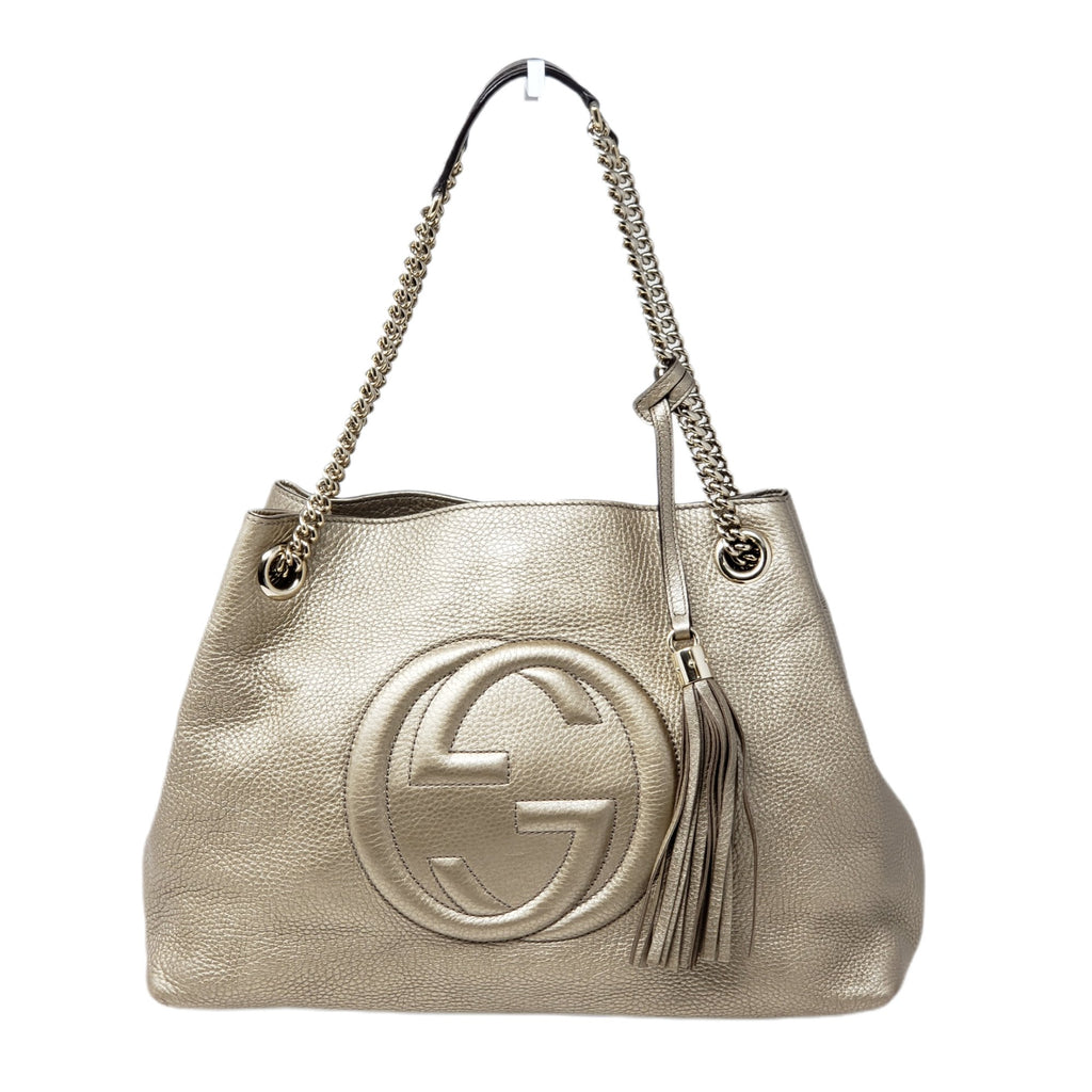 Gucci Soho on Chain Leather Shoulder Bag.