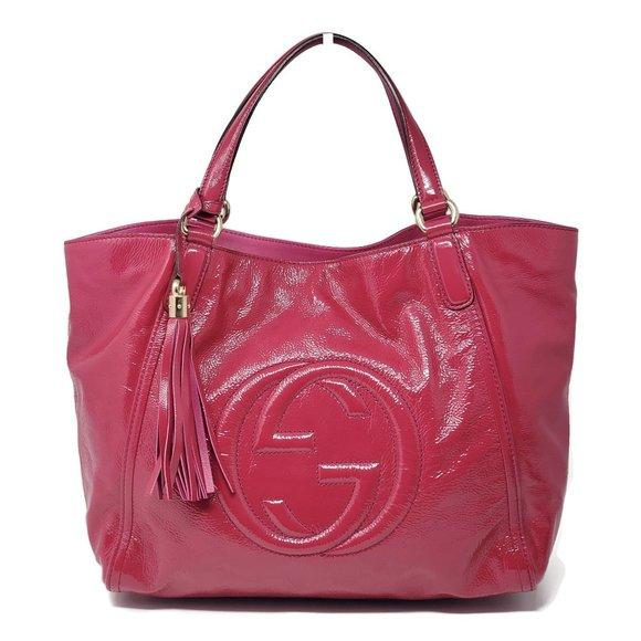 Gucci Soho Patent Leather Large Tote Shoulder Bag.