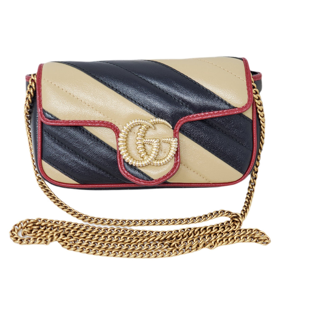 Gucci Super Mini Bicolor Marmont Crossbody Bag.