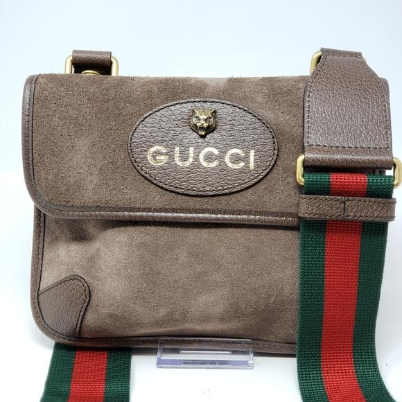 Gucci Suede Beige Neo Vintage Messenger Bag New.