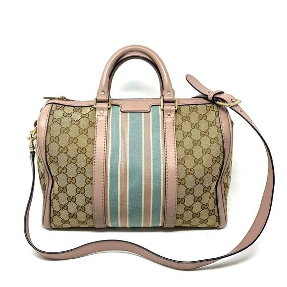 Gucci Vintage Canvas Boston Satchel Bag.