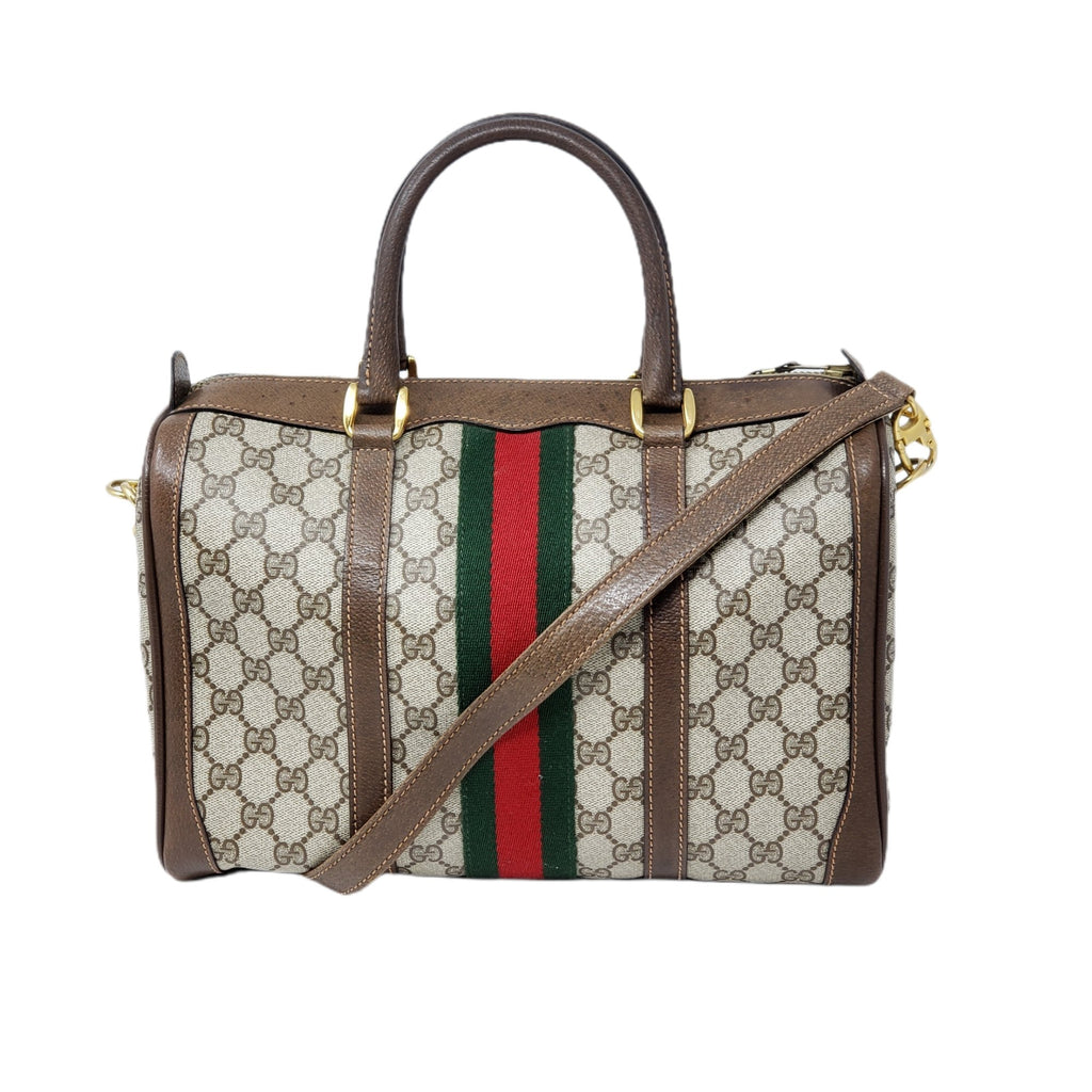 GUCCI VINTAGE GG SHERRY CANVAS SHOULDER BAG - Luxury Cheaper