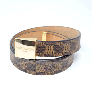Louis Vuitton Belt Ceinture Carre Damier Goldtone.