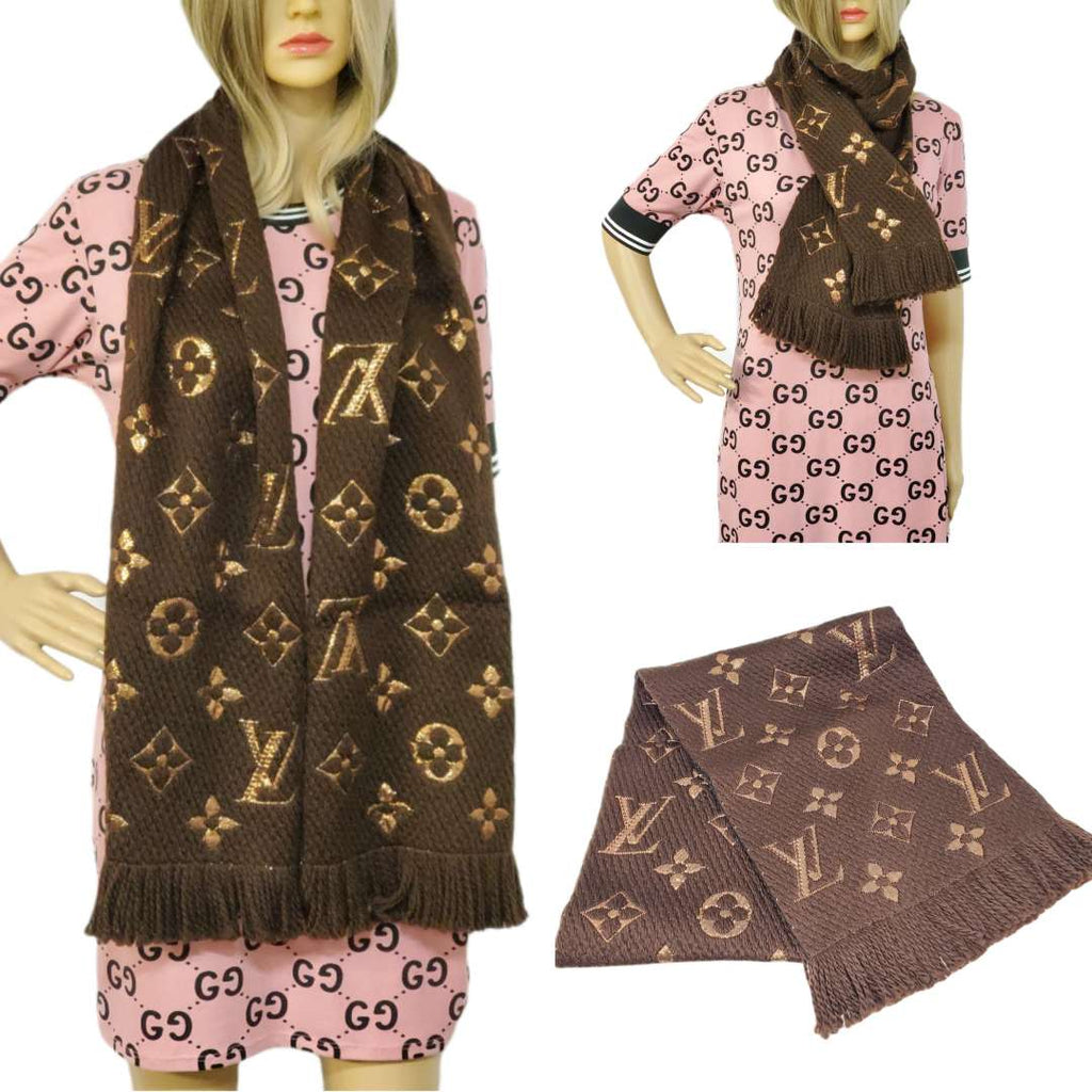 Louis Vuitton Logomania Shine Brown Monogram Scarf.