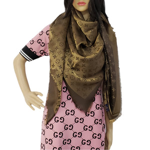 Louis Vuitton Shine Monogram Scarf Brown New - Luxury Cheaper