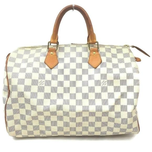 Louis Vuitton Speedy 35 Damier Azur Hand Bag.