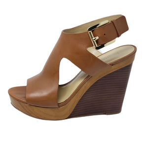 Michael Kors Leather Brown Sandal Wedge.