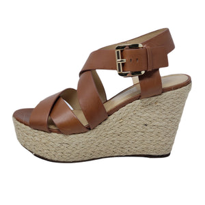 Michael Kors Wedge Leather Brown Sandal.