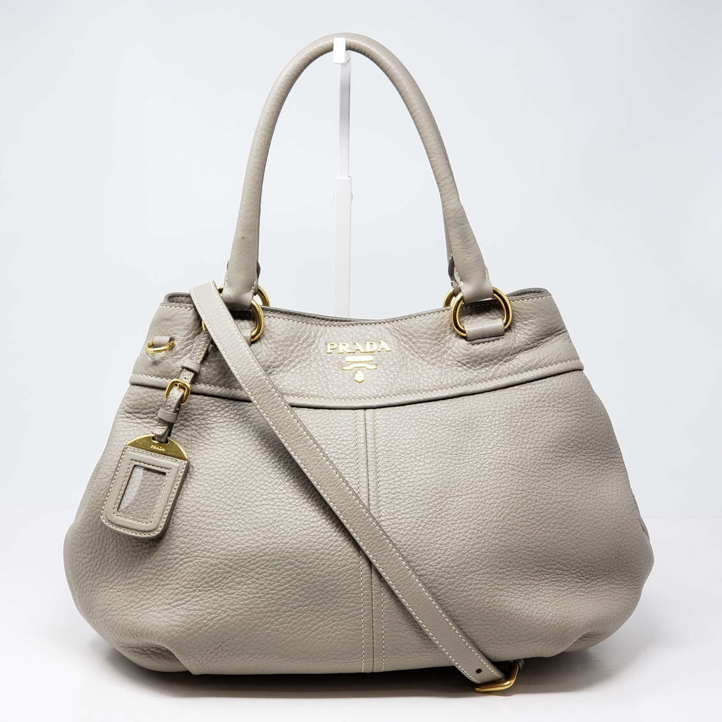 PRADA GRAY LEATHER 2WAY SHOULDER /HAND BAG - Luxury Cheaper