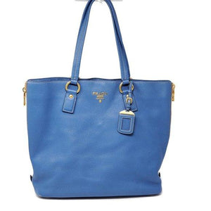 Prada Large Blue Leather Tote Shoulder Bag.