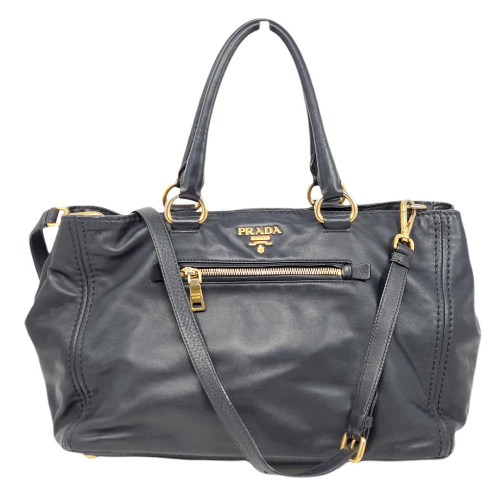 Prada Large Tote Leather Black Satchel Bag.