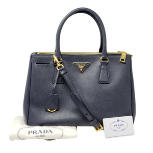 PRADA LOGO NAVY SAFFIANO LEATHER2WAY HAND BAG - Luxury Cheaper