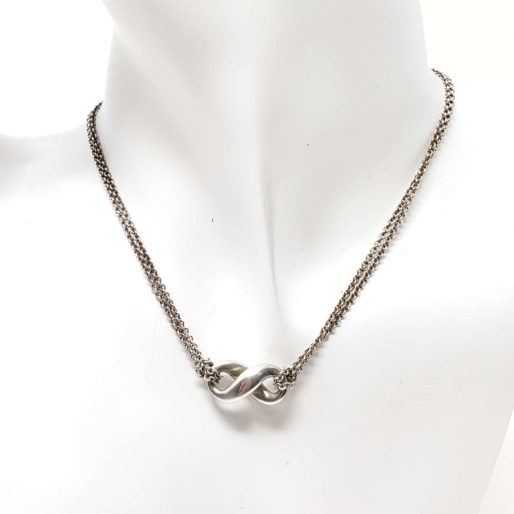 Tiffany Co Silver Infinity Necklace.