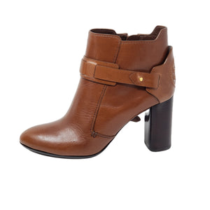 Tory Burch Ankle Brown Leather Boots.