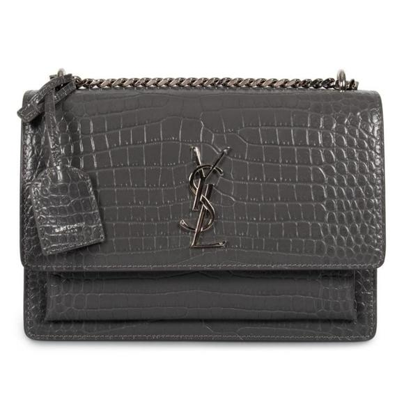 YSL SUNSET Medium Croc Grey Crossbody Brand New.