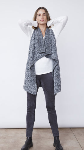 Woman Wearing the Drape Front Longline Vest in Charcoal by b new york