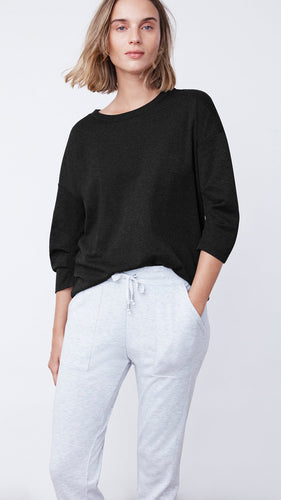 Women's Recycled Tuck Sleeve Sweatshirt in Black by b new york