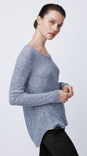 Casual Long Sleeve Ribbed Knit Top in Blue by b new york