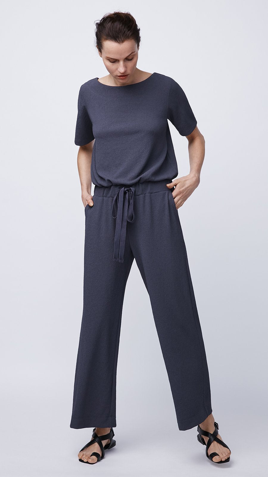 Women's Short Sleeved Jumpsuit in Navy by b new york